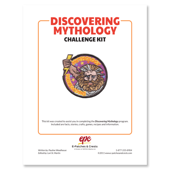 This image depicts the front cover of the Discovering Mythology Challenge Kit. The title is in the top left corner, the patch is displayed in the center, and our company\'s logo is at the bottom.