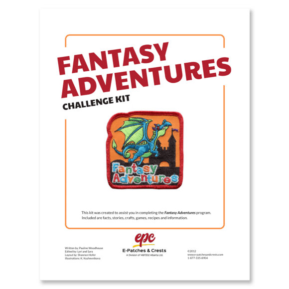 This image depicts the front cover of the Fantasy Adventures Challenge Kit. The title is in the top left corner, the patch is displayed in the center, and our company\'s logo is at the bottom.