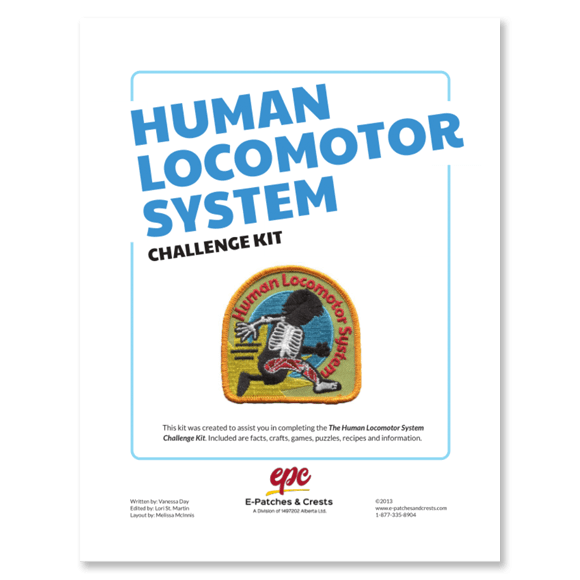 This image depicts the front cover of the Human Locomotor System Challenge Kit. The title is in the top left corner, the patch is displayed in the center, and our company\'s logo is at the bottom.