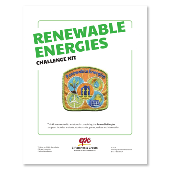 This image depicts the front cover of the Renewable Energies Challenge Kit. The title is in the top left corner, the patch is displayed in the center, and our company\'s logo is at the bottom.