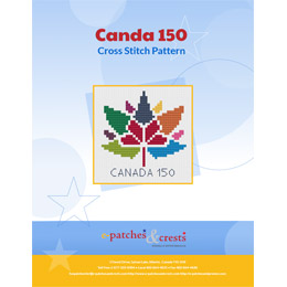 This PDF booklet has a cross stitched Canada 150 logo on the cover.