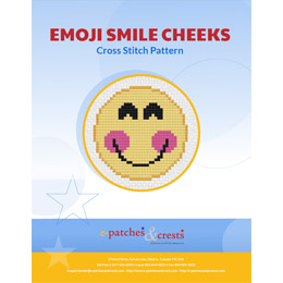 This PDF booklet has a cross stitched Emoji Smile Cheeks patch on the cover.