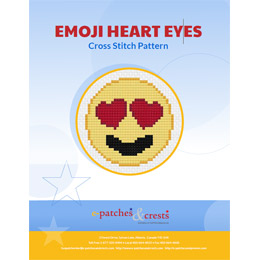 This PDF booklet has a cross stitched image of a heart eyes emoji on the cover.