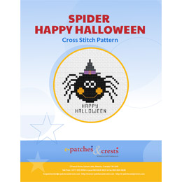This PDF booklet has a cross stitched image of a happy spider, wearing a witches hat, with the words 'Happy Halloween' on the cover.