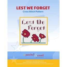 This PDF booklet has three cross stitched poppies on the cover underneath the words 'Lest We Forget.'