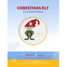 This PDF booklet has a cross stitched Christmas Elf with a red Santa hat on the cover.