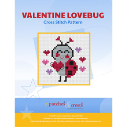 This PDF booklet has a cross stitched Ladybug holding a heart on the cover. The ladybug has hearts surrounding her.