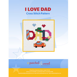 This PDF booklet has the word 'Dad' cross stitched on the cover. Each letter in 'Dad' decorated with an item. The 'D' has a tie, the 'A' wears a hat, and the last 'D' has stars on it. Two hearts float above the word and a car rests underneath.