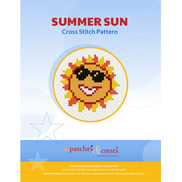 This PDF booklet has a cross stitched sun wearing sun glasses on the cover. The sun has alternating flames of yellow and orange colour coming out from the center circle.