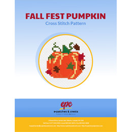 This PDF booklet has a cross stitched pumpkin surrounded by green, brown and red falling leaves, on the cover.