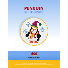 This PDF booklet has a cross stitched penguin with a red Santa hat and scarf on the cover.