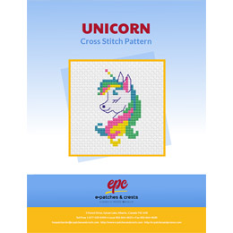 This PDF booklet has a cross stitched unicorn with a rainbow mane on the cover.