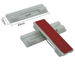 A front closing pin is showcased with the dimensions 7mm by 30 mm beside it. Two other interlocking pins are displayed so one shows off the red tape covering the adhesive backing.