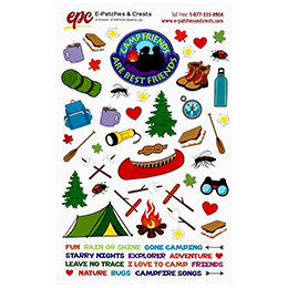 A colourful sticker sheet filled with camping-related items such as a tent, campfire, s'mores, mugs of hot chocolate, leaves, a canoe, and much more.