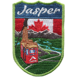 This crest displays the Jasper Sky Tram overlooking the beautiful view of forest, rivers, and the Rocky Mountains of Jasper National Park. Behind the spectacular view is the Canadian flag and the words \'Jasper\'.