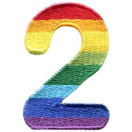 This patch is the number 2. From top down the colour changes from red to orange to yellow to light green to dark green to light blue to dark blue to purple.