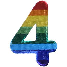 This patch is the number 4. From top down the colour changes from red to orange to yellow to light green to dark green to light blue to dark blue to purple.