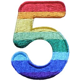This patch is the number 5. From top down the colour changes from red to orange to yellow to light green to dark green to light blue to dark blue to purple.