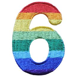 This patch is the number 6. From top down the colour changes from red to orange to yellow to light green to dark green to light blue to dark blue to purple.