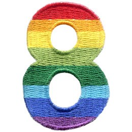 This patch is the number 8. From top down the colour changes from red to orange to yellow to light green to dark green to light blue to dark blue to purple.