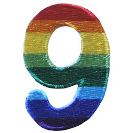 This patch is the number 9. From top down the colour changes from red to orange to yellow to light green to dark green to light blue to dark blue to purple.