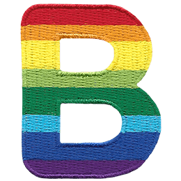 This patch is the alphabet letter B. From top-down, the colour changes from red to orange to yellow to light green to dark green to light blue to dark blue to purple.