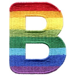 This patch is the alphabet letter A. From top down the colour changes from red to orange to yellow to light green to dark green to light blue to dark blue to purple.