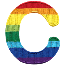 This patch is the alphabet letter C. From top down the colour changes from red to orange to yellow to light green to dark green to light blue to dark blue to purple.