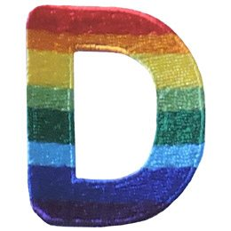 This patch is the alphabet letter D. From top down the colour changes from red to orange to yellow to light green to dark green to light blue to dark blue to purple.