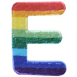 This patch is the alphabet letter E. From top down the colour changes from red to orange to yellow to light green to dark green to light blue to dark blue to purple.