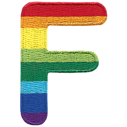 This patch is the alphabet letter F. From top down the colour changes from red to orange to yellow to light green to dark green to light blue to dark blue to purple.