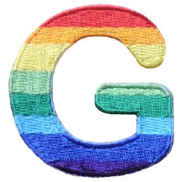 This patch is the alphabet letter G. From top down the colour changes from red to orange to yellow to light green to dark green to light blue to dark blue to purple.