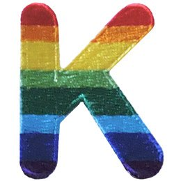 This patch is the alphabet letter K. From top down the colour changes from red to orange to yellow to light green to dark green to light blue to dark blue to purple.