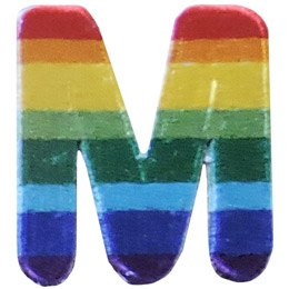 This patch is the alphabet letter M. From top down the colour changes from red to orange to yellow to light green to dark green to light blue to dark blue to purple.