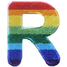 This patch is the alphabet letter R. From top down the colour changes from red to orange to yellow to light green to dark green to light blue to dark blue to purple.