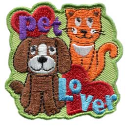 Animals, Pets, Dog, Cat, Lover, Pet, Animal, Patch, Embroidered Patch, Merit Badge, Badge, Emblem, Iron On, Iron-On, Crest, Lapel Pin, Insignia, Girl Scouts, Boy Scouts, Girl Guides