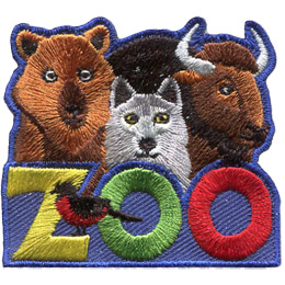 A bear, wolf and buffalo peer over the top of the word \'Zoo.\'