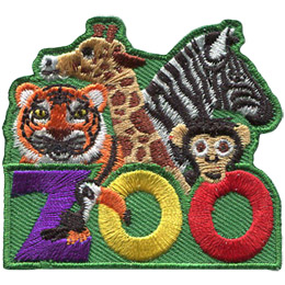 A tiger, giraffe, zebra, and monkey peer overtop of the word \'Zoo.\'