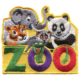 This roughly square patch has the word \'Zoo\' at the bottom. A variety of Asian animals fill the top half of the badge. These include (from left to right) an elephant, a tiger, a monkey, and a panda. A snake peeks through the \'O\' in \'Zoo\'.