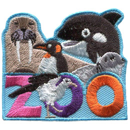 This roughly square patch has the word \'Zoo\' at the bottom. A variety of Antarctic animals fill the top half of the badge. These include (from left to right) a walrus, penguin, orca, and seal. A sea gull sits in front of the \'O\' in \'Zoo\'.