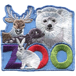 <p>This roughly square patch has the word \'Zoo\' at the bottom. A variety of Anctic animals fill the top half of the badge. These include (from left to right) a caribou, seal, and polar bear. A arctic hare sits in front of the first \'O\' in \'Zoo\'.</p>
