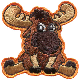 This cute moose looks towards the viewer with puppy-dog eyes. It is sitting with it\'s back legs spread and it\'s front ones held straight, holding up the weight of its upper torso. Its head is facing slightly to the right. This moose has two antlers, each with three points on them.