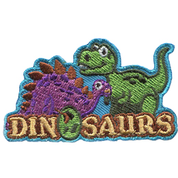 Cartoon versions of a stegosaurus and a tyrannosaurus rex stand behind the word Dinosaurs. The O in dinosaurs is a dino egg.