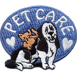 A blue horizontal oval forms the background of this patch. The words \'\'Pet Care\'\' begin and end with a heart as the letters arch along the top of the oval. A dog and a cat sit underneath the word arch.