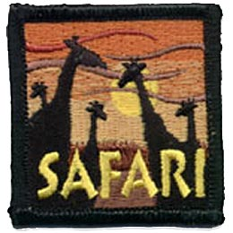 Safari, Giraffe, Africa, Jungle, Patch, Embroidered Patch, Merit Badge, Crest, Girl Scouts, Boy Scouts, Girl Guides