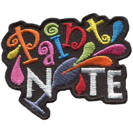 The letters in 'Paint' are orange, pink, blue, red, and yellow and 'Nite' are white. The 'I' in 'Nite' is a tilted wine glass spilling colourful paint.
