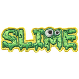 <p>This badge spells out the word \'Slime.\' Each letter is covered in dripping green goop and the \'M\' has two monster eyes on it.</p>