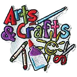 Written in colourful letters near the top of the patch are the words ''Arts & Crafts.'' Underneath are two wax crayons, a bottle of glue, a kid drawn smiling sun, and a set of scissors. A paint brush rests above the word ''Crafts.''