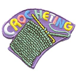 Crochet, Hobby, Yarn, Wool, Needle, Knitting, Knit, Patch, Embroidered Patch, Merit Badge, Badge, Emblem, Iron On, Iron-On, Crest, Lapel Pin, Insignia, Girl Scouts, Boy Scouts, Girl Guides