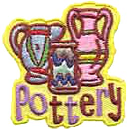 Pottery, Ceramics, Vase, Vases, Bottle, Patch, Embroidered Patch, Merit Badge, Crest, Girl Scouts, Boy Scouts, Girl Guides